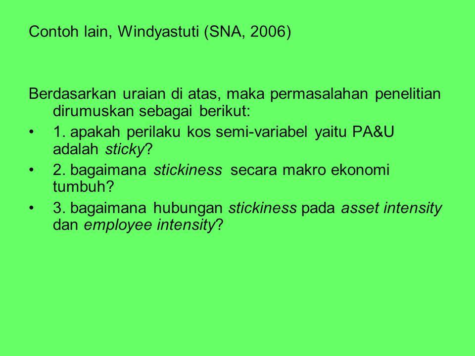 Contoh lain, Windyastuti (SNA, 2006) Berdasarkan uraian di atas, maka permasalahan penelitian dirumuskan sebagai berikut: 1. apakah perilaku kos semi-