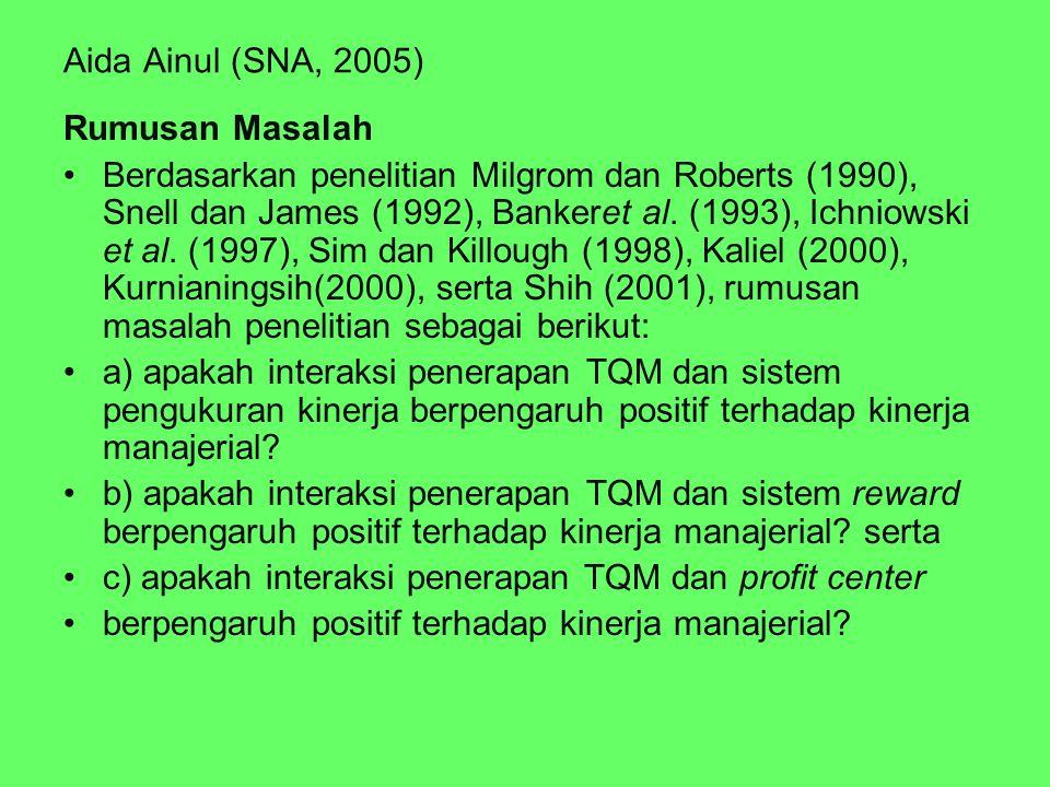Aida Ainul (SNA, 2005) Rumusan Masalah Berdasarkan penelitian Milgrom dan Roberts (1990), Snell dan James (1992), Bankeret al. (1993), Ichniowski et a