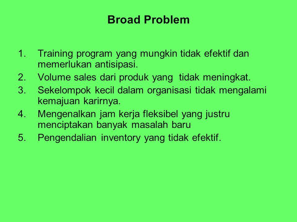 Broad Problem 1.Training program yang mungkin tidak efektif dan memerlukan antisipasi. 2.Volume sales dari produk yang tidak meningkat. 3.Sekelompok k