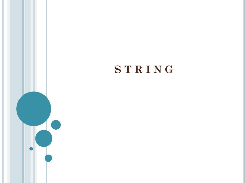 Dalam C++, String adalah kumpulan (array) dari karakter.