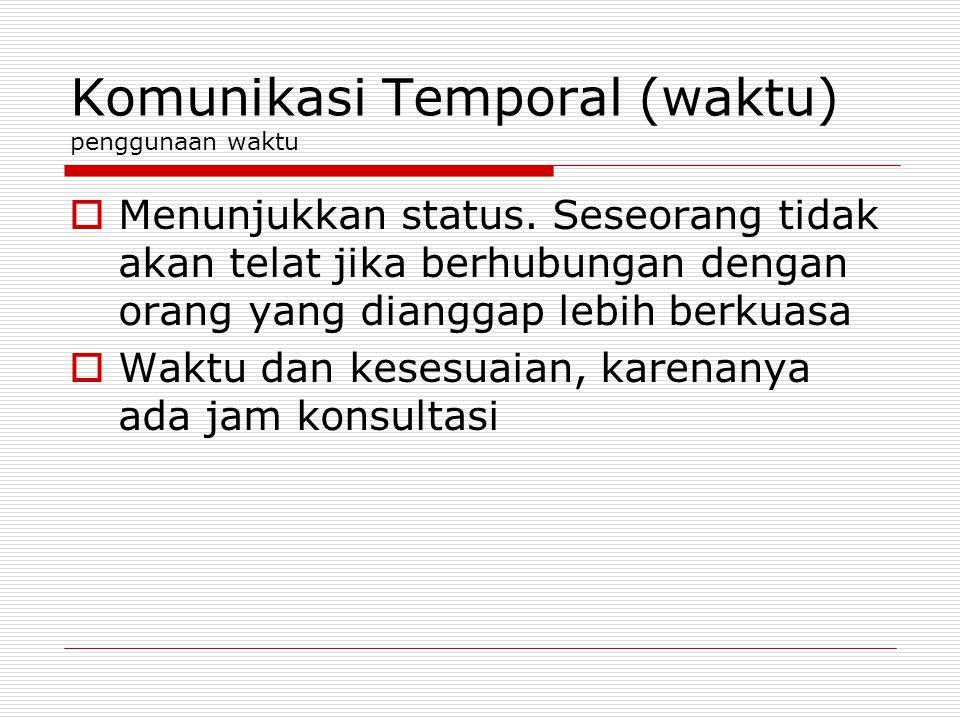 Komunikasi Temporal (waktu) penggunaan waktu  Menunjukkan status. Seseorang tidak akan telat jika berhubungan dengan orang yang dianggap lebih berkua