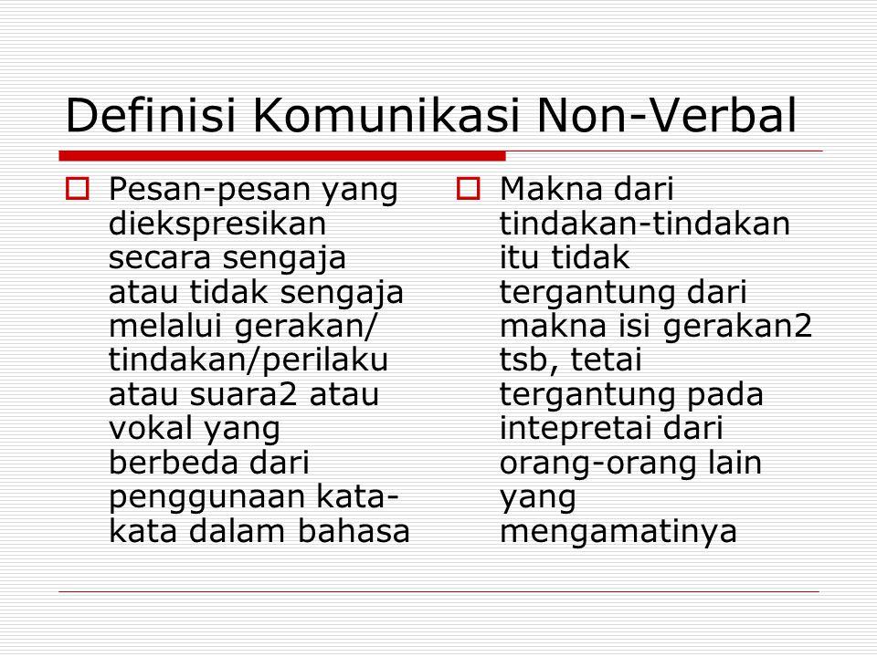 Definisi Komunikasi Non-Verbal  Pesan-pesan yang diekspresikan secara sengaja atau tidak sengaja melalui gerakan/ tindakan/perilaku atau suara2 atau