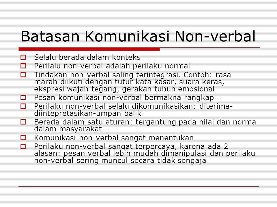 Batasan Komunikasi Non-verbal  Selalu berada dalam konteks  Perilalu non-verbal adalah perilaku normal  Tindakan non-verbal saling terintegrasi. Co