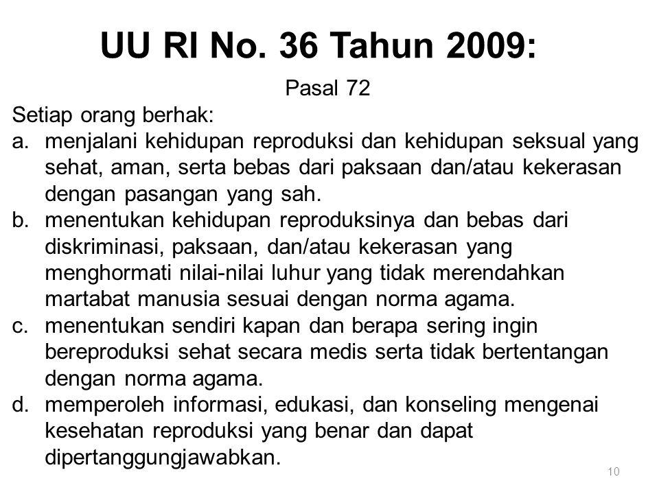 10 Pasal 72 Setiap orang berhak: a.menjalani kehidupan reproduksi dan kehidupan seksual yang sehat, aman, serta bebas dari paksaan dan/atau kekerasan