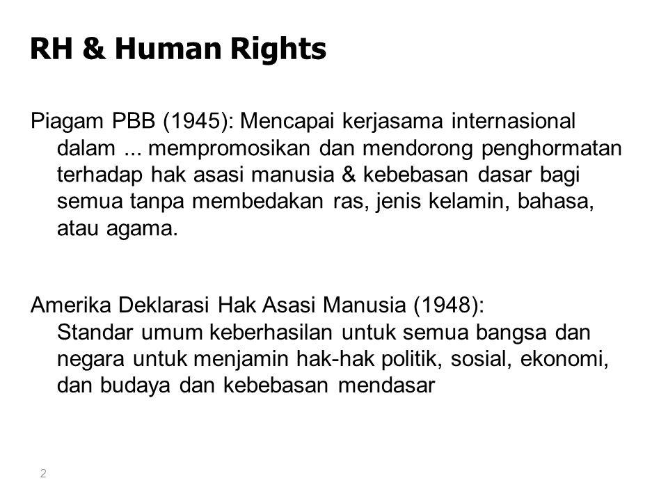 2 RH & Human Rights Piagam PBB (1945): Mencapai kerjasama internasional dalam... mempromosikan dan mendorong penghormatan terhadap hak asasi manusia &