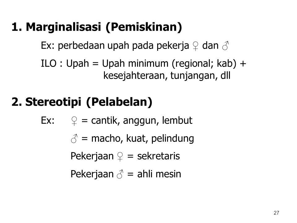 27 1. Marginalisasi (Pemiskinan) Ex: perbedaan upah pada pekerja ♀ dan ♂ ILO : Upah = Upah minimum (regional; kab) + kesejahteraan, tunjangan, dll 2.