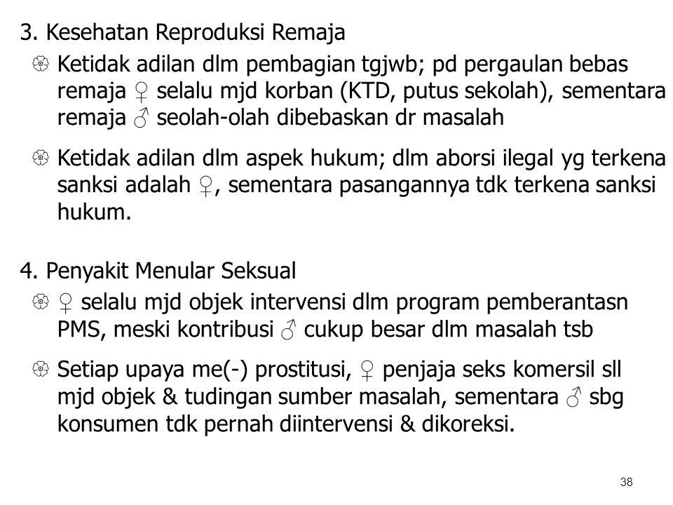 38 3. Kesehatan Reproduksi Remaja  Ketidak adilan dlm pembagian tgjwb; pd pergaulan bebas remaja ♀ selalu mjd korban (KTD, putus sekolah), sementara