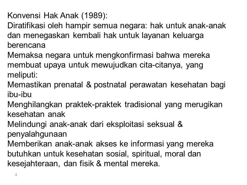 4 Konvensi Hak Anak (1989): Diratifikasi oleh hampir semua negara: hak untuk anak-anak dan menegaskan kembali hak untuk layanan keluarga berencana Mem