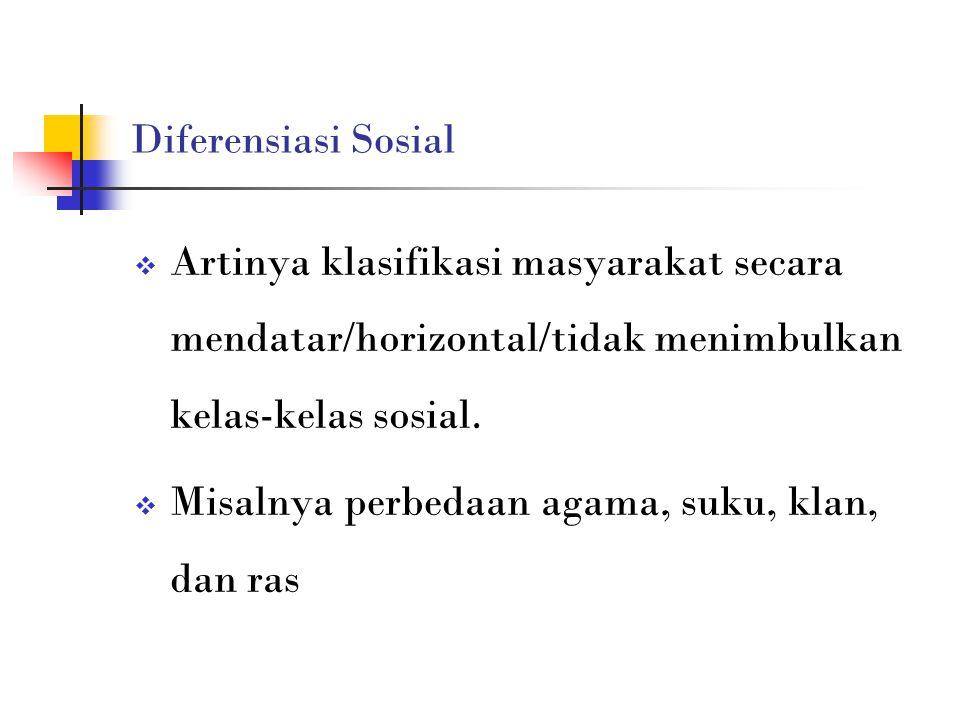Diferensiasi Sosial  Artinya klasifikasi masyarakat secara mendatar/horizontal/tidak menimbulkan kelas-kelas sosial.  Misalnya perbedaan agama, suku