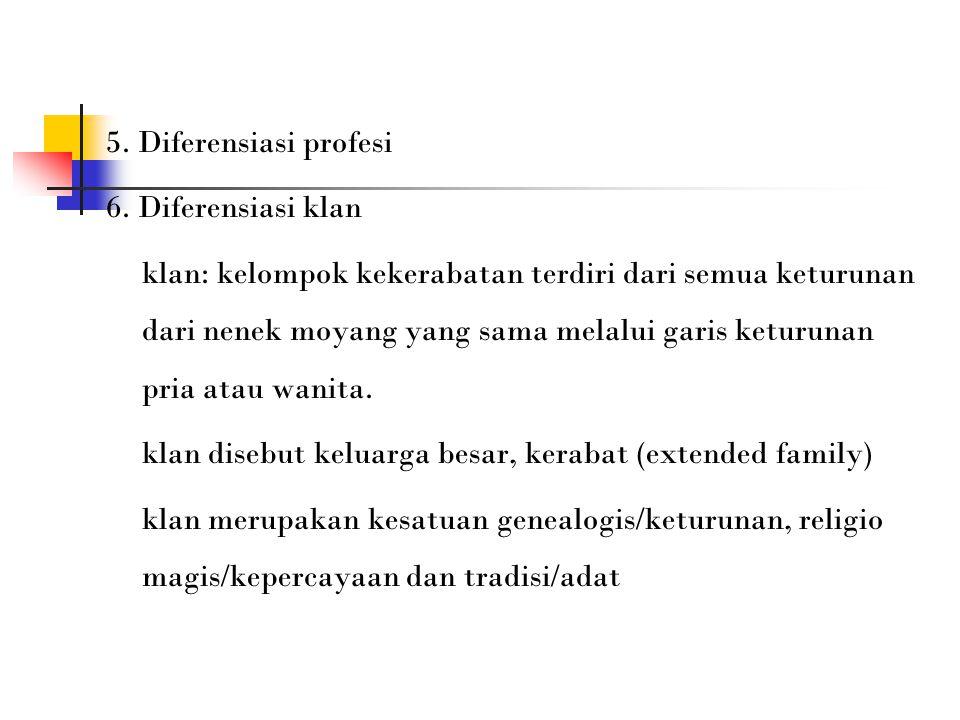 5. Diferensiasi profesi 6. Diferensiasi klan klan: kelompok kekerabatan terdiri dari semua keturunan dari nenek moyang yang sama melalui garis keturun