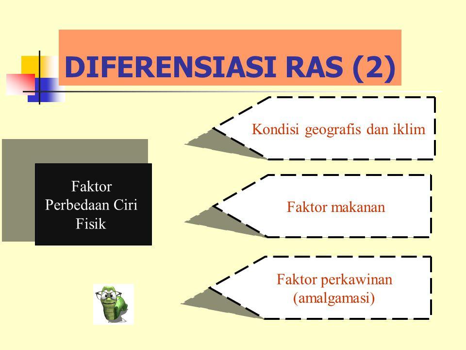 DIFERENSIASI RAS (2) Faktor Perbedaan Ciri Fisik Kondisi geografis dan iklim Faktor makanan Faktor perkawinan (amalgamasi)