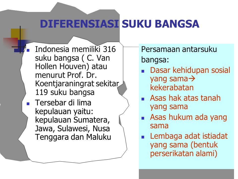 DIFERENSIASI SUKU BANGSA Indonesia memiliki 316 suku bangsa ( C. Van Hollen Houven) atau menurut Prof. Dr. Koentjaraningrat sekitar 119 suku bangsa Te
