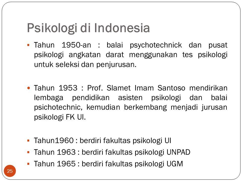 Psikologi di Indonesia 25  Tahun 1950-an : balai psychotechnick dan pusat psikologi angkatan darat menggunakan tes psikologi untuk seleksi dan penjurusan.
