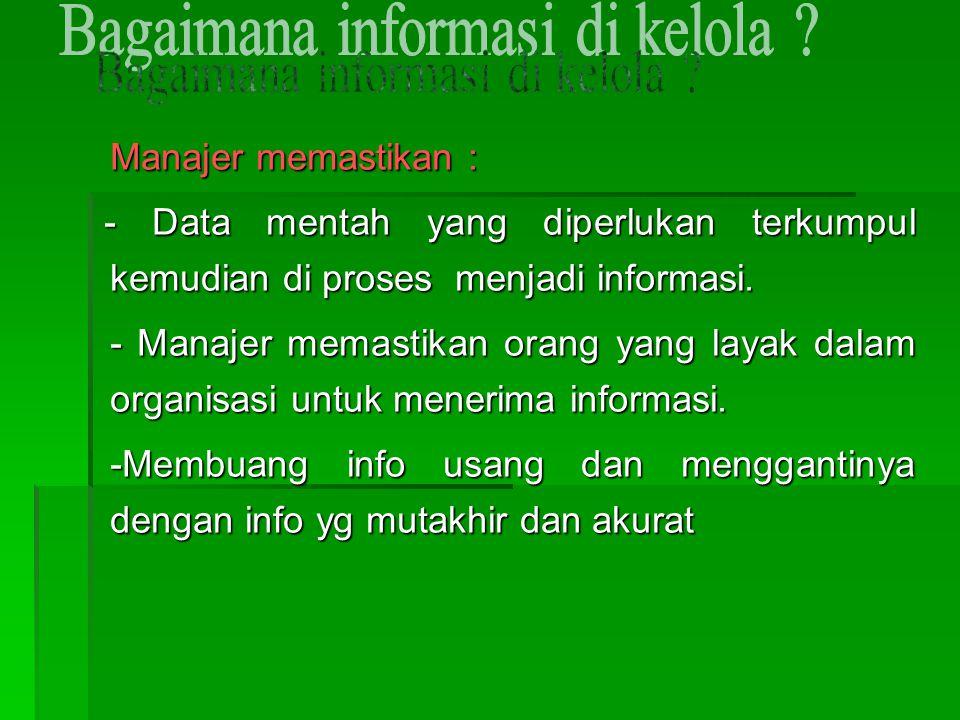 Manajer memastikan : - Data mentah yang diperlukan terkumpul kemudian di proses menjadi informasi. - Data mentah yang diperlukan terkumpul kemudian di