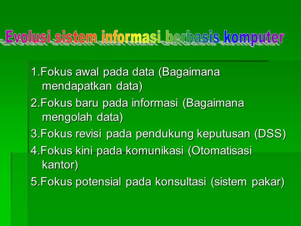 1.Fokus awal pada data (Bagaimana mendapatkan data) 2.Fokus baru pada informasi (Bagaimana mengolah data) 3.Fokus revisi pada pendukung keputusan (DSS