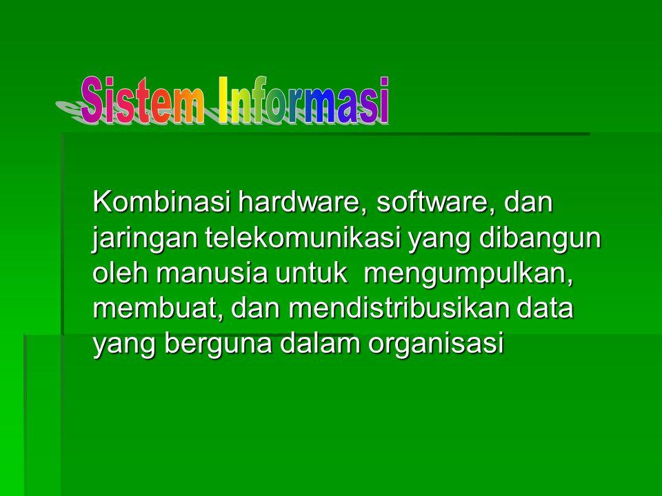 Kombinasi hardware, software, dan jaringan telekomunikasi yang dibangun oleh manusia untuk mengumpulkan, membuat, dan mendistribusikan data yang bergu