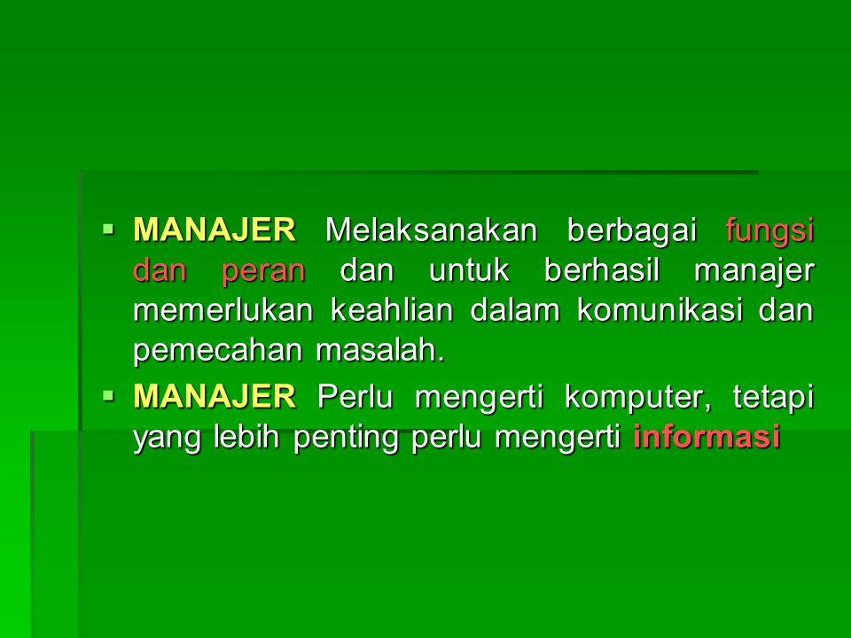  MANAJER Melaksanakan berbagai fungsi dan peran dan untuk berhasil manajer memerlukan keahlian dalam komunikasi dan pemecahan masalah.  MANAJER Perl