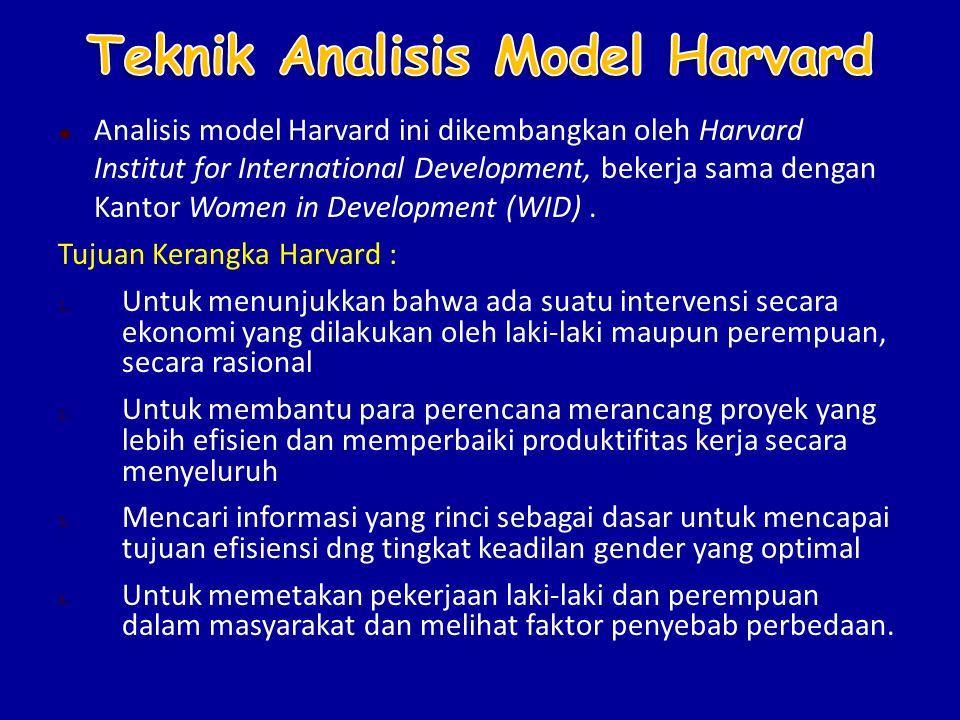  Analisis model Harvard ini dikembangkan oleh Harvard Institut for International Development, bekerja sama dengan Kantor Women in Development (WID).