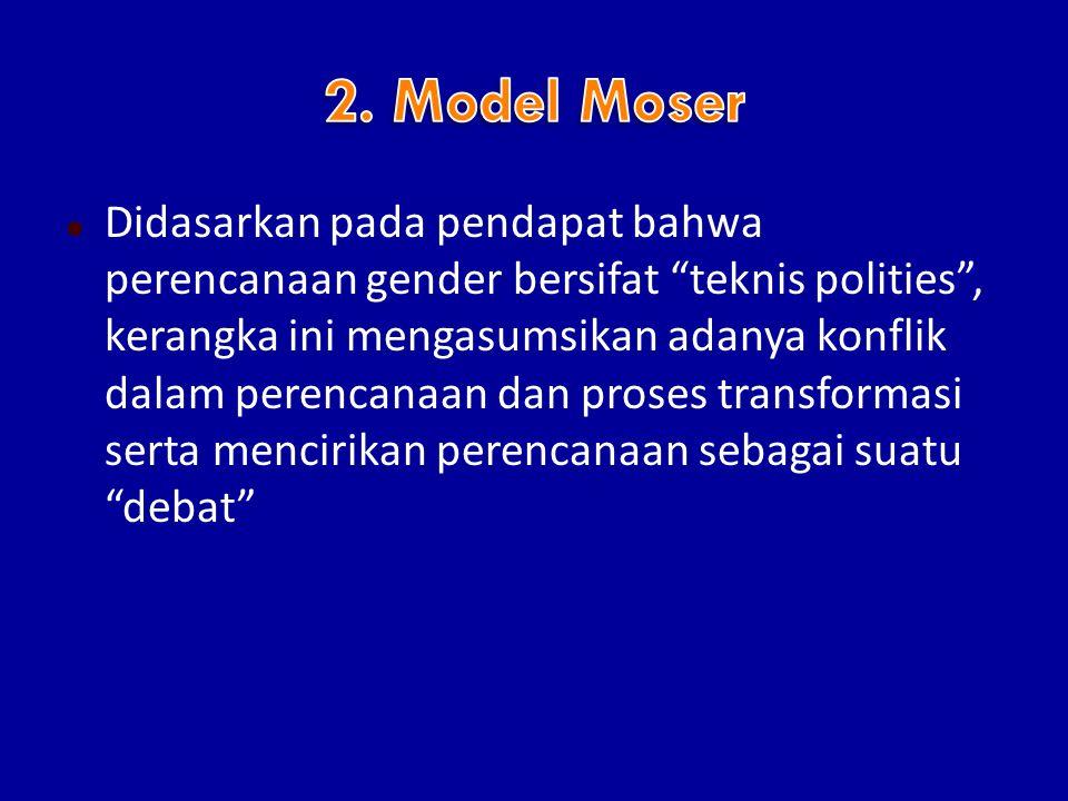  Didasarkan pada pendapat bahwa perencanaan gender bersifat teknis polities , kerangka ini mengasumsikan adanya konflik dalam perencanaan dan proses transformasi serta mencirikan perencanaan sebagai suatu debat