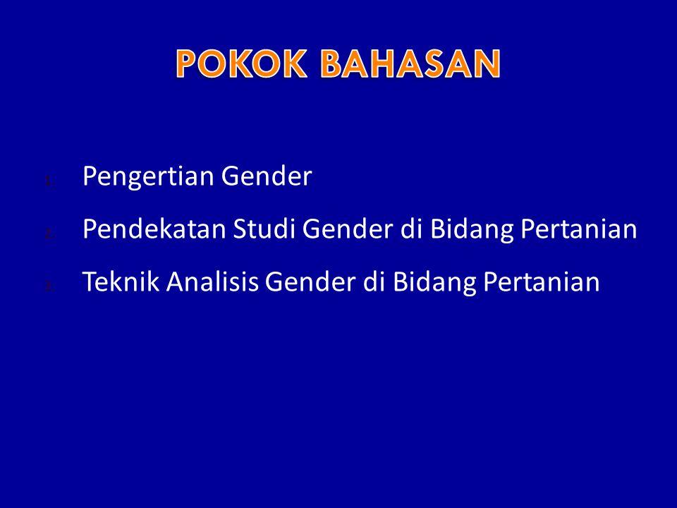 1.Pengertian Gender 2. Pendekatan Studi Gender di Bidang Pertanian 3.