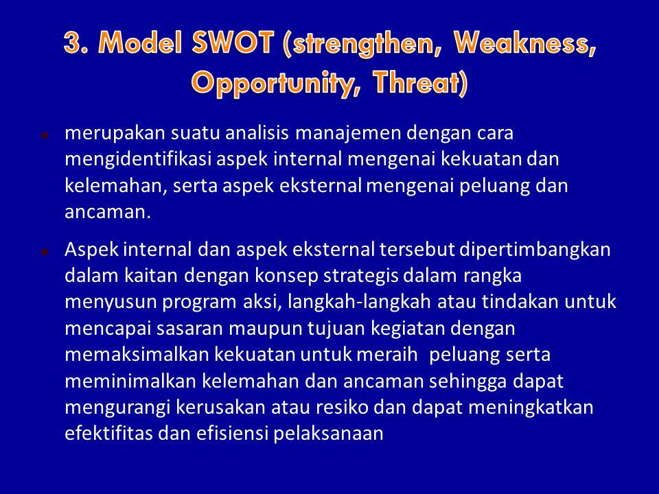  merupakan suatu analisis manajemen dengan cara mengidentifikasi aspek internal mengenai kekuatan dan kelemahan, serta aspek eksternal mengenai peluang dan ancaman.