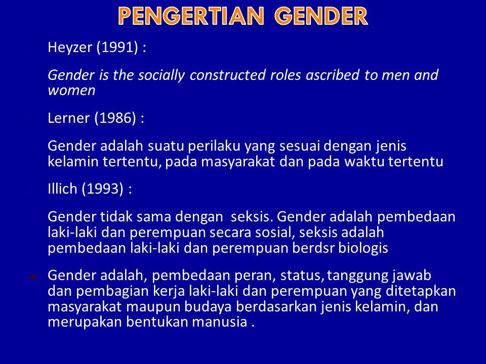 - Heyzer (1991) : Gender is the socially constructed roles ascribed to men and women - Lerner (1986) : Gender adalah suatu perilaku yang sesuai dengan jenis kelamin tertentu, pada masyarakat dan pada waktu tertentu - Illich (1993) : Gender tidak sama dengan seksis.