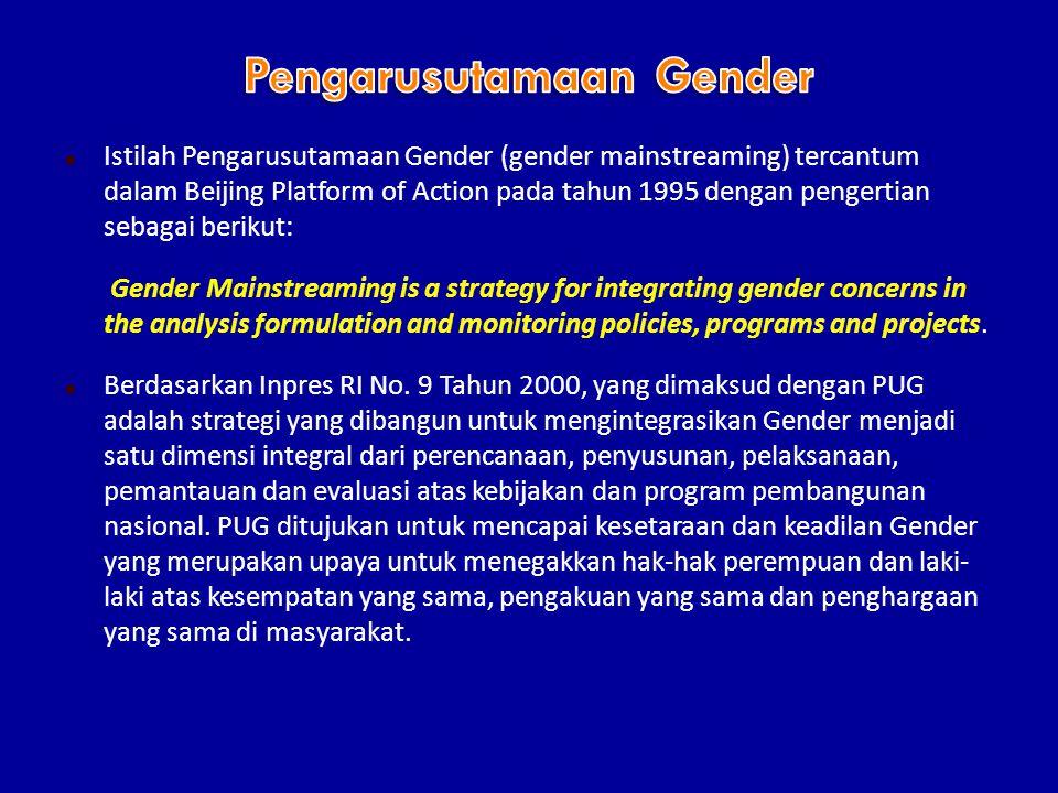  Istilah Pengarusutamaan Gender (gender mainstreaming) tercantum dalam Beijing Platform of Action pada tahun 1995 dengan pengertian sebagai berikut: Gender Mainstreaming is a strategy for integrating gender concerns in the analysis formulation and monitoring policies, programs and projects.