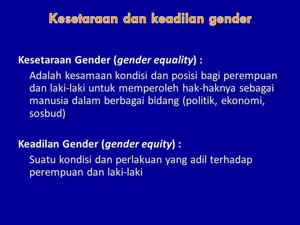 Kesetaraan Gender (gender equality) : Adalah kesamaan kondisi dan posisi bagi perempuan dan laki-laki untuk memperoleh hak-haknya sebagai manusia dalam berbagai bidang (politik, ekonomi, sosbud) Keadilan Gender (gender equity) : Suatu kondisi dan perlakuan yang adil terhadap perempuan dan laki-laki