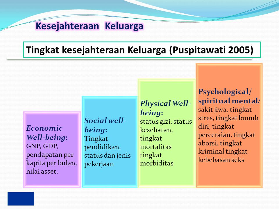 Economic Well-being: GNP, GDP, pendapatan per kapita per bulan, nilai asset. Psychological/ spiritual mental: sakit jiwa, tingkat stres, tingkat bunuh