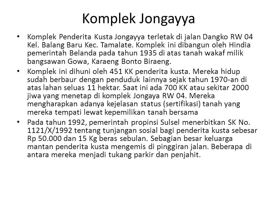 Komplek Jongayya Komplek Penderita Kusta Jongayya terletak di jalan Dangko RW 04 Kel. Balang Baru Kec. Tamalate. Komplek ini dibangun oleh Hindia peme