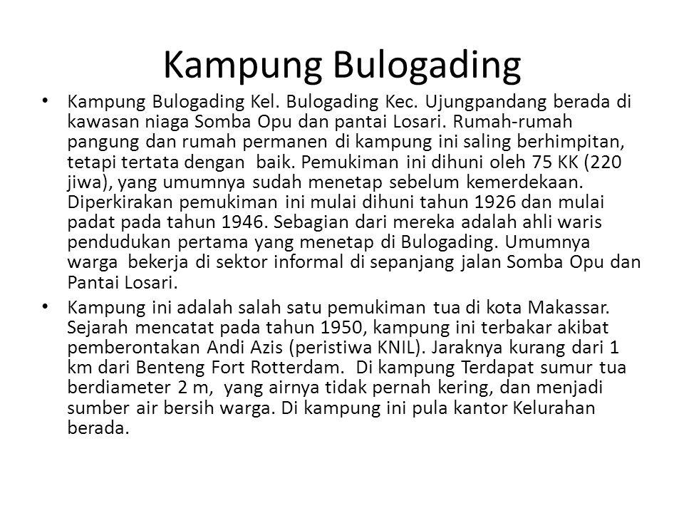 Kampung Bulogading Kampung Bulogading Kel. Bulogading Kec. Ujungpandang berada di kawasan niaga Somba Opu dan pantai Losari. Rumah-rumah pangung dan r