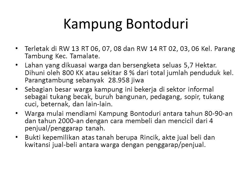 Kampung Bontoduri Terletak di RW 13 RT 06, 07, 08 dan RW 14 RT 02, 03, 06 Kel. Parang Tambung Kec. Tamalate. Lahan yang dikuasai warga dan bersengketa