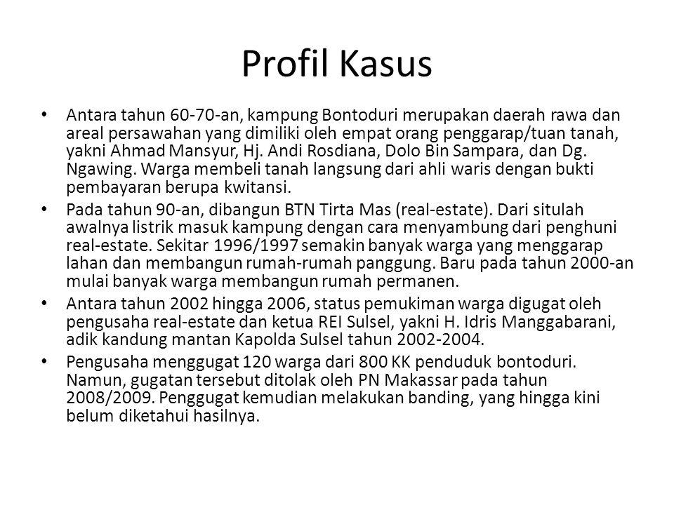Kampung Kassi-kassi Lokasi sengketa dihuni 65 KK (400 jiwa) dari 8.137 KK (15.512 jiwa) penduduk kelurahan Kassi-kassi.