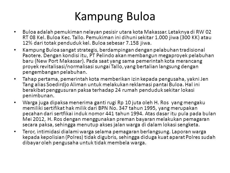Kampung Buloa Buloa adalah pemukiman nelayan pesisir utara kota Makassar. Letaknya di RW 02 RT 08 Kel. Buloa Kec. Tallo. Pemukiman ini dihuni sekitar