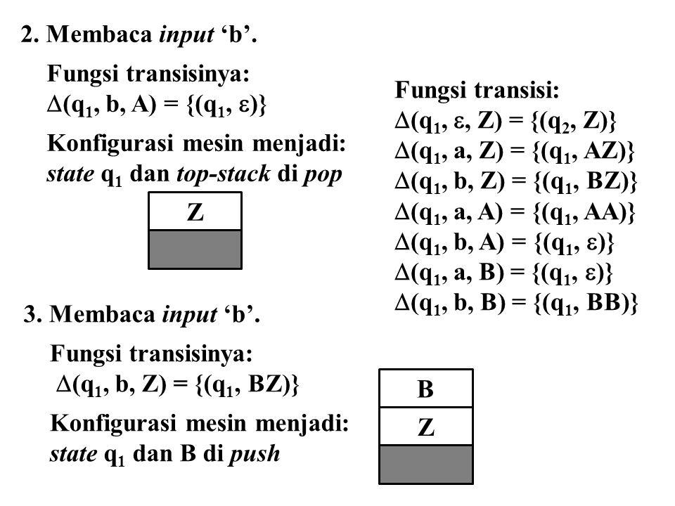 Z 2. Membaca input 'b'. Fungsi transisinya:  (q 1, b, A) = {(q 1,  )} Konfigurasi mesin menjadi: state q 1 dan top-stack di pop 3. Membaca input 'b'