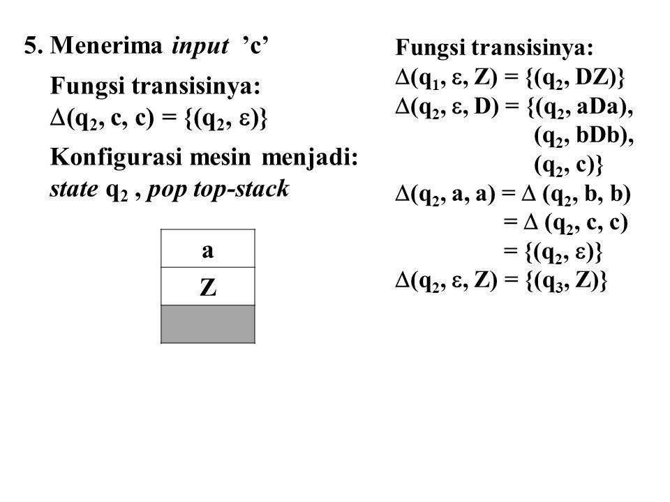 5. Menerima input 'c' Fungsi transisinya:  (q 2, c, c) = {(q 2,  )} Konfigurasi mesin menjadi: state q 2, pop top-stack a Z Fungsi transisinya:  (q