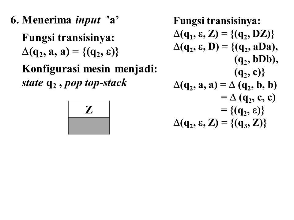 6. Menerima input 'a' Fungsi transisinya:  (q 2, a, a) = {(q 2,  )} Konfigurasi mesin menjadi: state q 2, pop top-stack Z Fungsi transisinya:  (q 1