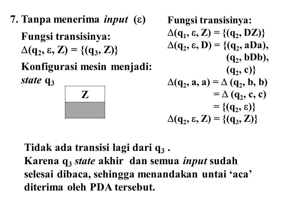 7. Tanpa menerima input (  ) Fungsi transisinya:  (q 2, , Z) = {(q 3, Z)} Konfigurasi mesin menjadi: state q 3 Z Tidak ada transisi lagi dari q 3.