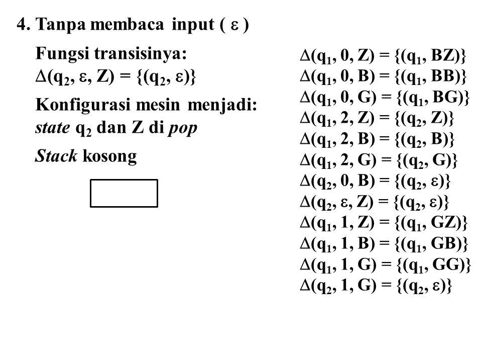  (q 1, 0, Z) = {(q 1, BZ)}  (q 1, 0, B) = {(q 1, BB)}  (q 1, 0, G) = {(q 1, BG)}  (q 1, 2, Z) = {(q 2, Z)}  (q 1, 2, B) = {(q 2, B)}  (q 1, 2, G) = {(q 2, G)}  (q 2, 0, B) = {(q 2,  )}  (q 2, , Z) = {(q 2,  )}  (q 1, 1, Z) = {(q 1, GZ)}  (q 1, 1, B) = {(q 1, GB)}  (q 1, 1, G) = {(q 1, GG)}  (q 2, 1, G) = {(q 2,  )} 4.