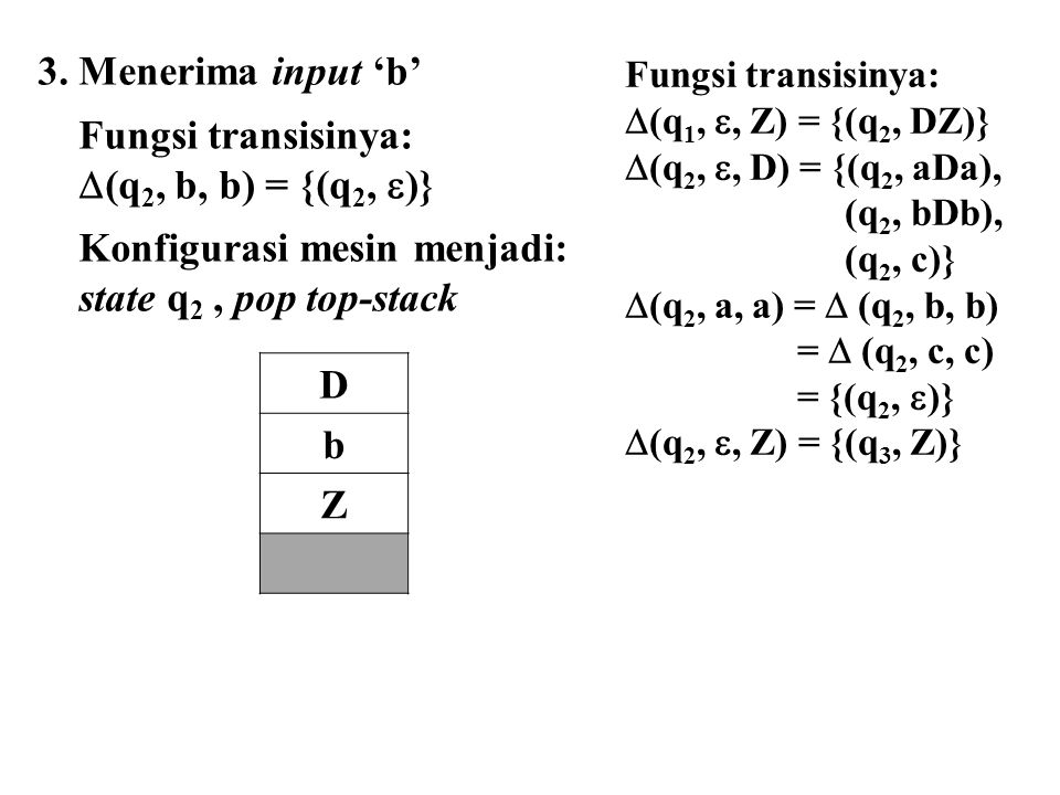 3. Menerima input 'b' Fungsi transisinya:  (q 2, b, b) = {(q 2,  )} Konfigurasi mesin menjadi: state q 2, pop top-stack D b Z Fungsi transisinya: 
