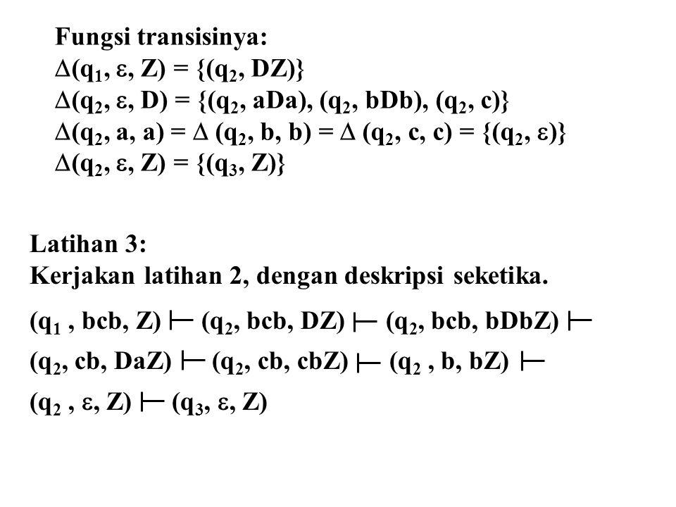 Latihan 3: Kerjakan latihan 2, dengan deskripsi seketika. (q 1, bcb, Z) (q 2, bcb, DZ) (q 2, bcb, bDbZ) (q 2, cb, DaZ) (q 2, cb, cbZ) (q 2, b, bZ) (q