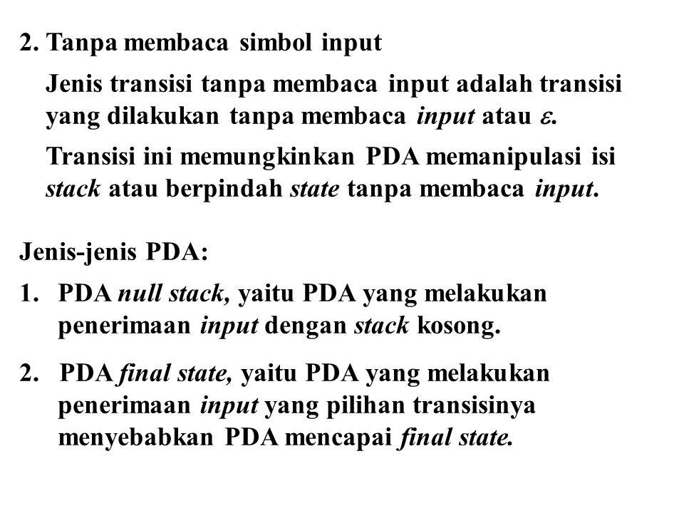 2. Tanpa membaca simbol input Jenis transisi tanpa membaca input adalah transisi yang dilakukan tanpa membaca input atau . Transisi ini memungkinkan