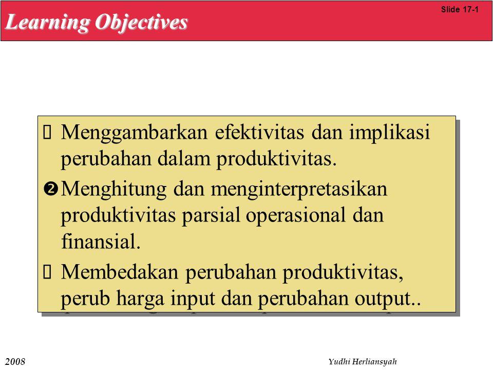 2008 Yudhi Herliansyah  Menggambarkan efektivitas dan implikasi perubahan dalam produktivitas.  Menghitung dan menginterpretasikan produktivitas par