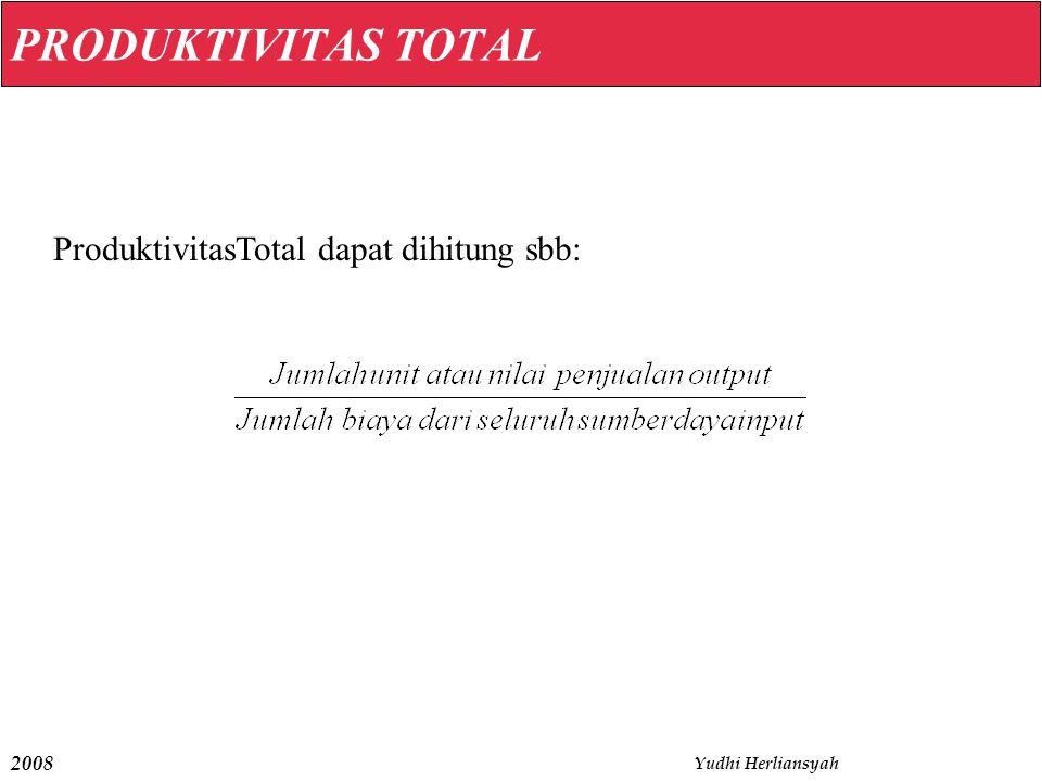 2008 Yudhi Herliansyah PRODUKTIVITAS TOTAL ProduktivitasTotal dapat dihitung sbb: