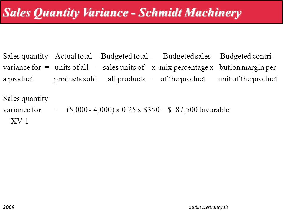 2008 Yudhi Herliansyah Sales Quantity Variance - Schmidt Machinery Sales quantity Actual total Budgeted total Budgeted sales Budgeted contri- variance for = units of all - sales units of x mix percentage x bution margin per a product products sold all products of the product unit of the product Sales quantity variance for = (5,000 - 4,000) x 0.25 x $350 = $ 87,500 favorable XV-1