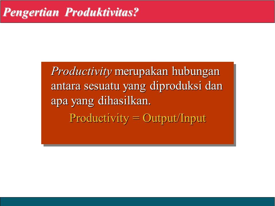 2008 Yudhi Herliansyah Productivity merupakan hubungan antara sesuatu yang diproduksi dan apa yang dihasilkan. Productivity = Output/Input Productivit