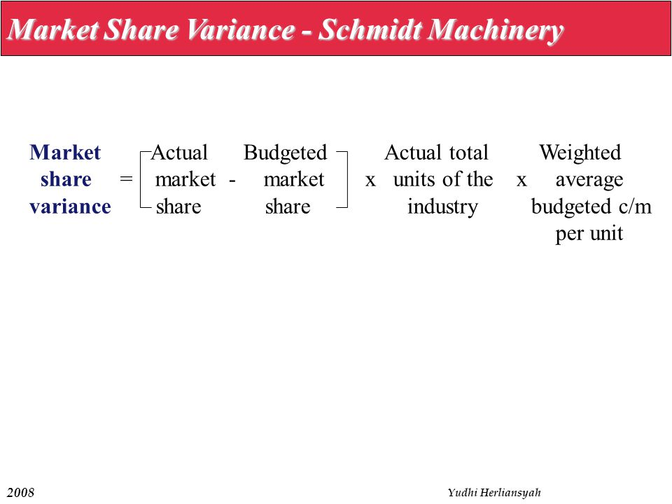 2008 Yudhi Herliansyah Market Share Variance - Schmidt Machinery Market Actual Budgeted Actual total Weighted share = market - market x units of the x average variance share share industry budgeted c/m per unit