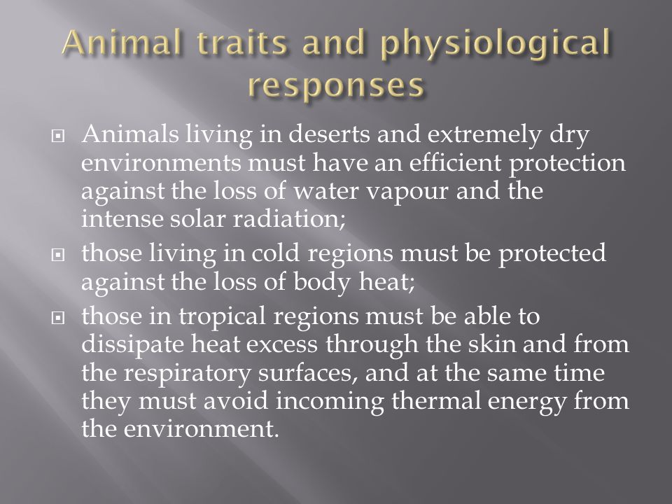  Animals living in deserts and extremely dry environments must have an efficient protection against the loss of water vapour and the intense solar radiation;  those living in cold regions must be protected against the loss of body heat;  those in tropical regions must be able to dissipate heat excess through the skin and from the respiratory surfaces, and at the same time they must avoid incoming thermal energy from the environment.
