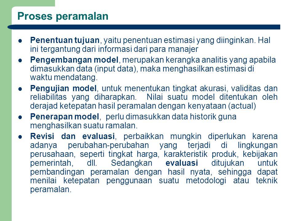 Proses peramalan Penentuan tujuan, yaitu penentuan estimasi yang diinginkan. Hal ini tergantung dari informasi dari para manajer Pengembangan model, m