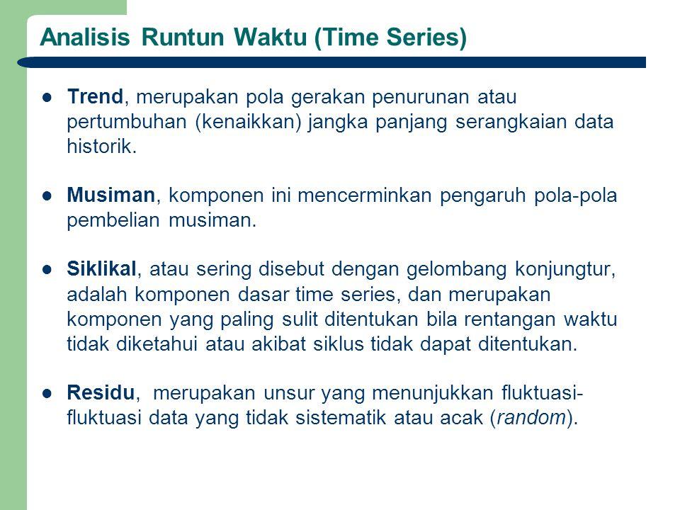 Analisis Runtun Waktu (Time Series) Trend, merupakan pola gerakan penurunan atau pertumbuhan (kenaikkan) jangka panjang serangkaian data historik. Mus